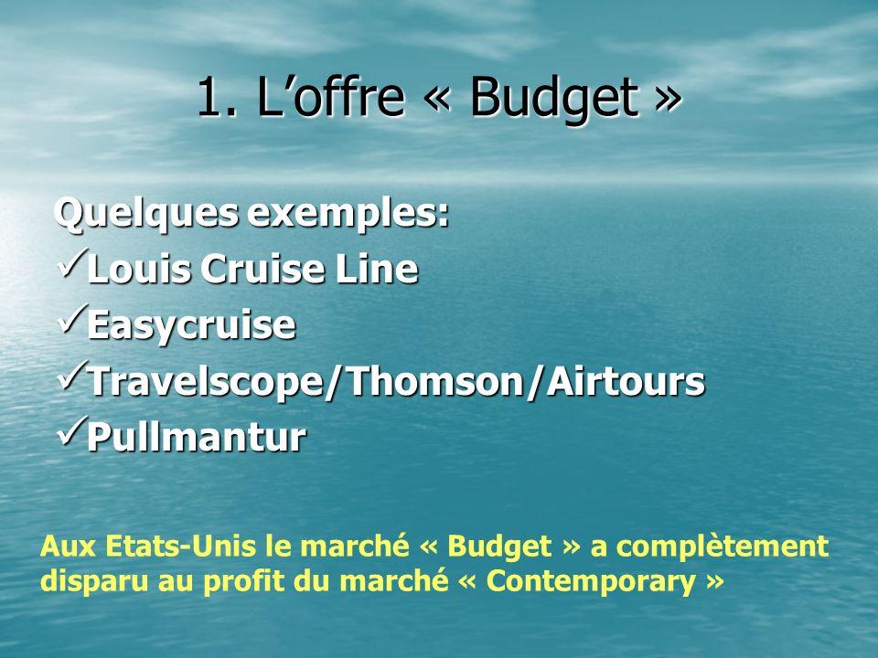 1. L'offre « Budget » Quelques exemples: Louis Cruise Line Easycruise