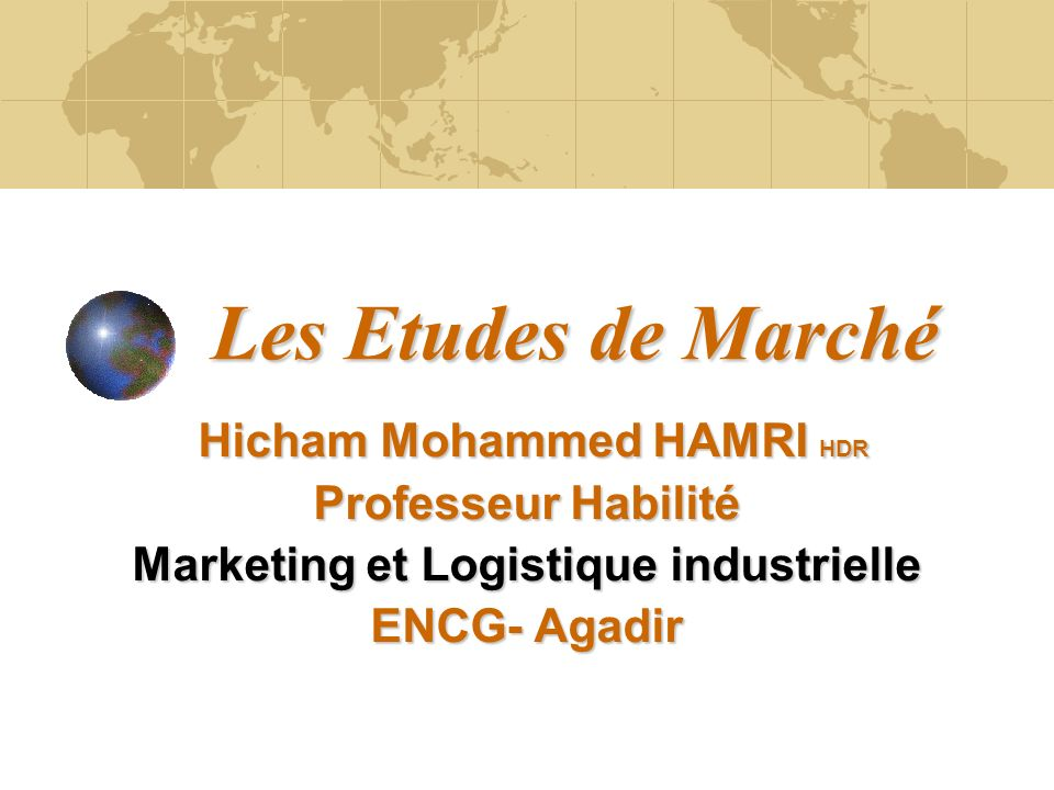 Hicham Mohammed HAMRI HDR Marketing et Logistique industrielle