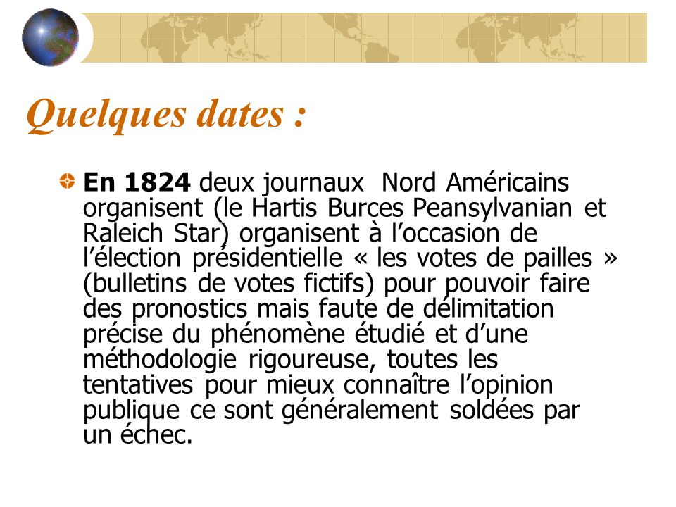 Quelques dates :