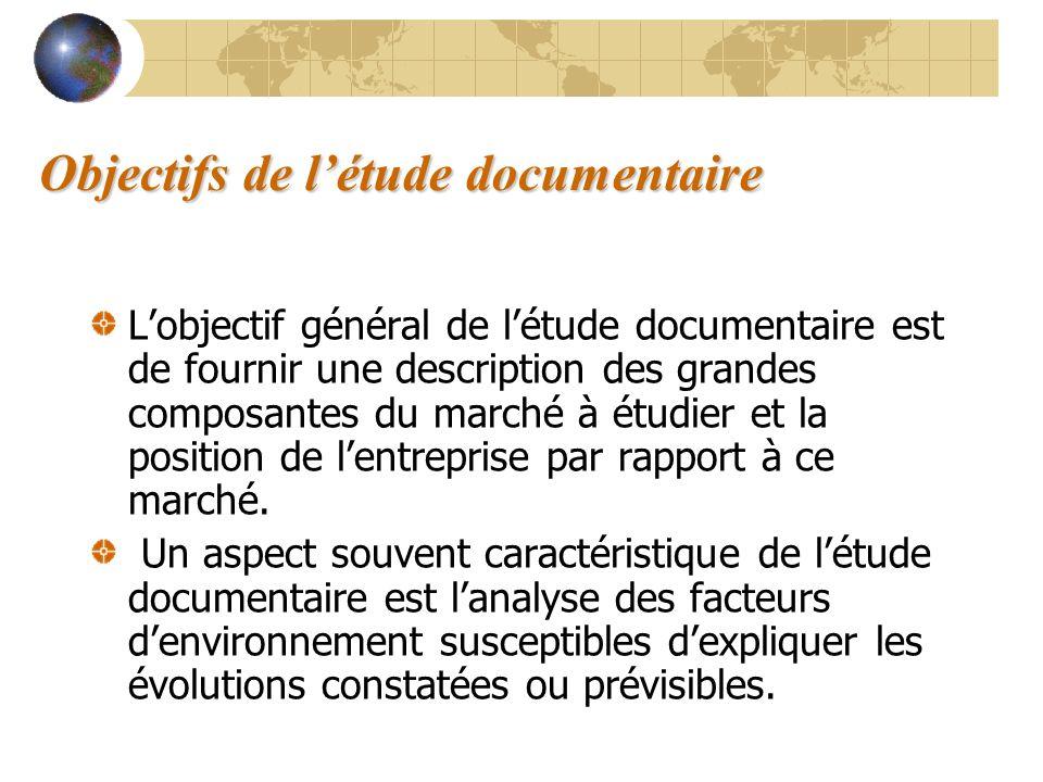 Objectifs de l'étude documentaire