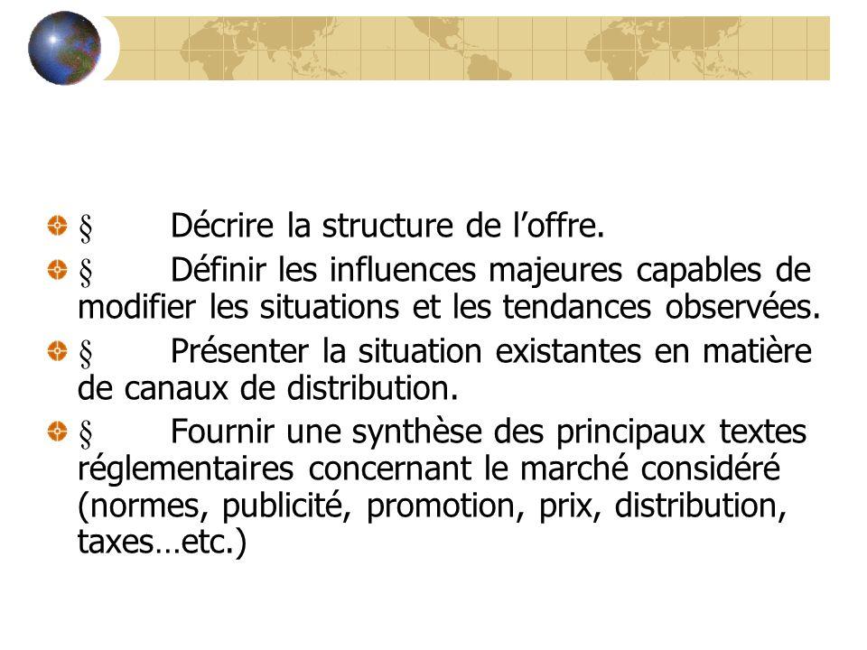 § Décrire la structure de l'offre.