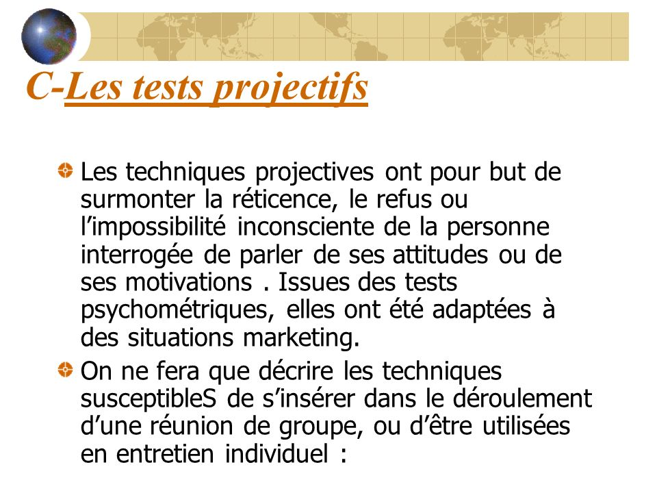 C-Les tests projectifs