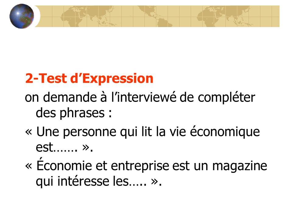 2-Test d'Expression on demande à l'interviewé de compléter des phrases : « Une personne qui lit la vie économique est……. ».