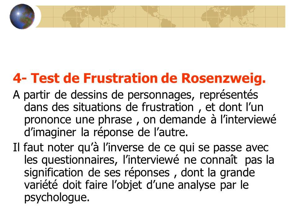 4- Test de Frustration de Rosenzweig.