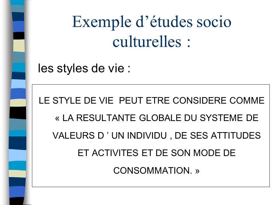 Exemple d'études socio culturelles :