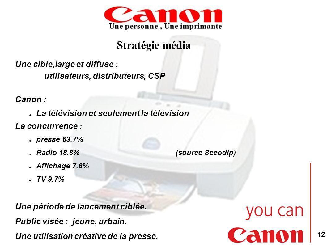 Stratégie média Une cible,large et diffuse :