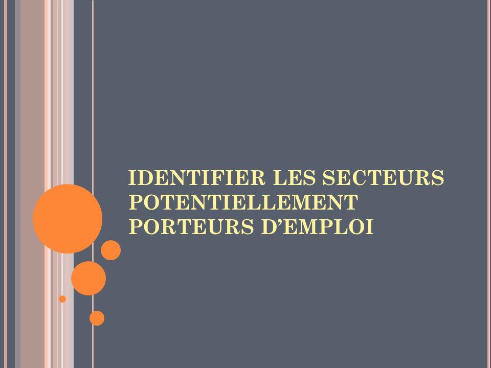 IDENTIFIER LES SECTEURS POTENTIELLEMENT PORTEURS D'EMPLOI