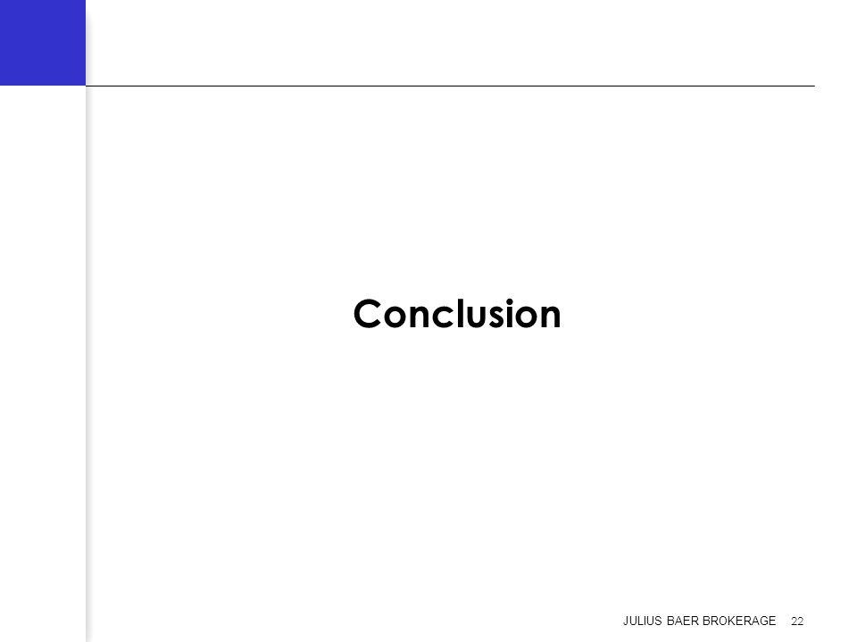 Conclusion JULIUS BAER BROKERAGE 22