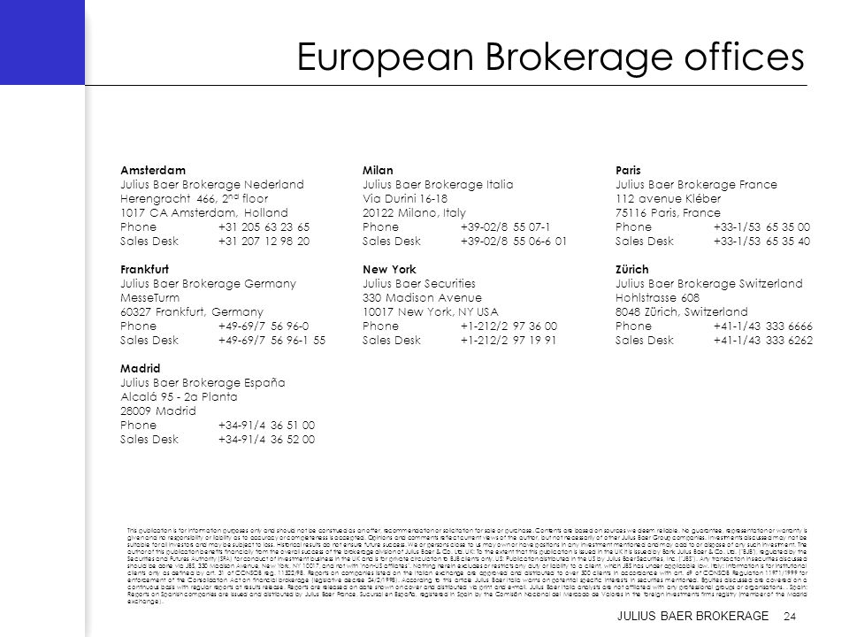 European Brokerage offices