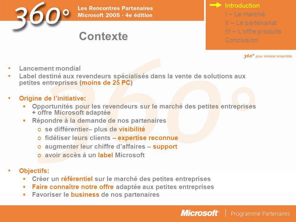 Contexte Introduction I – Le marché II – Le partenariat