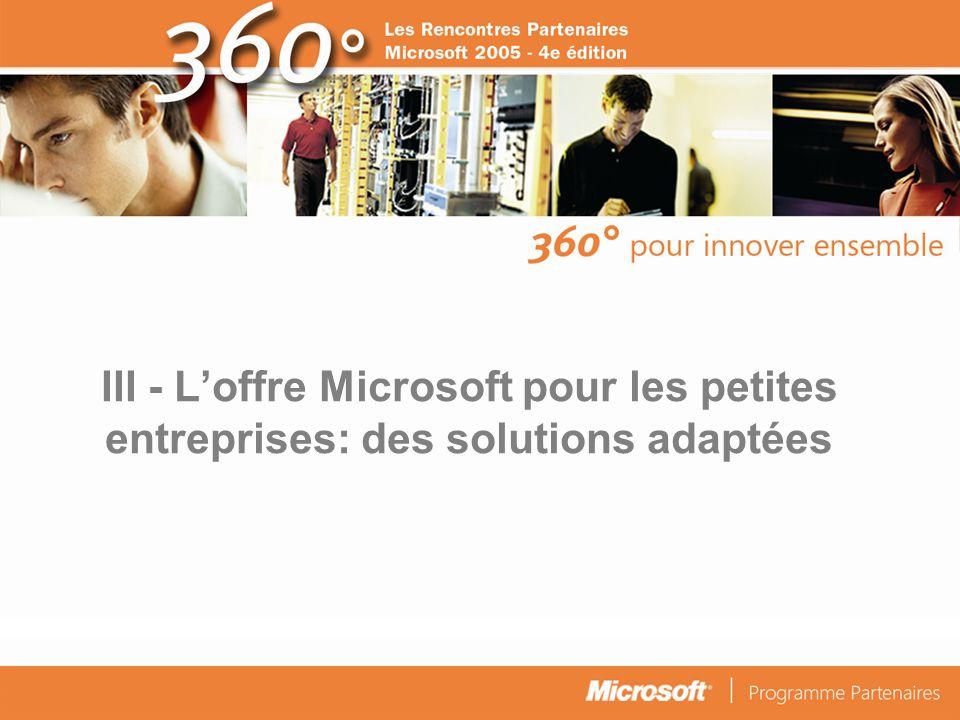 III - L'offre Microsoft pour les petites entreprises: des solutions adaptées