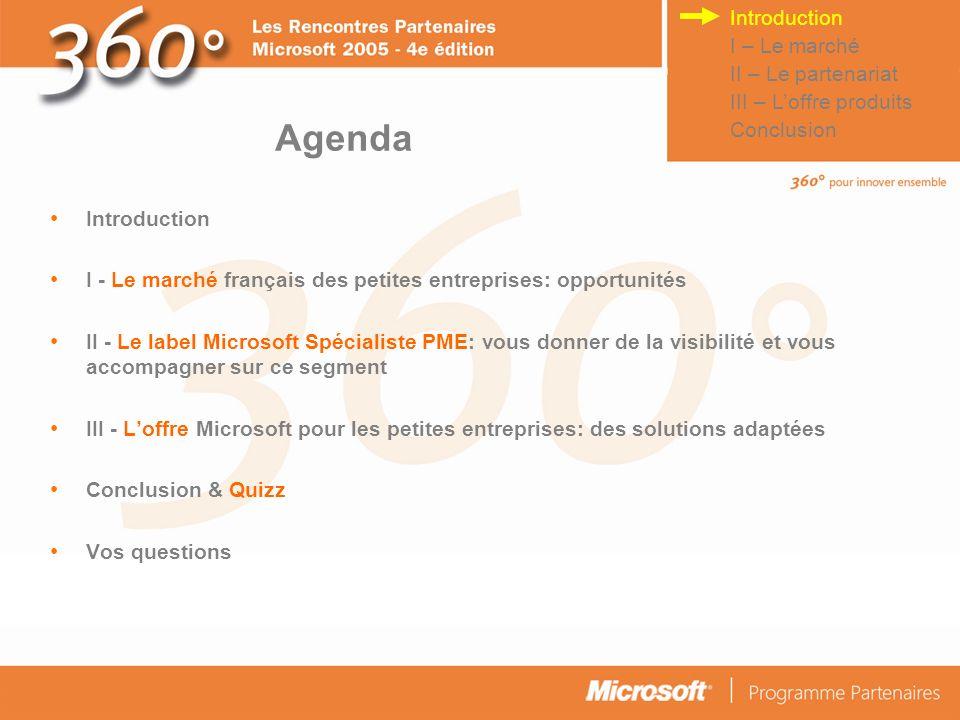 Agenda Introduction I – Le marché II – Le partenariat