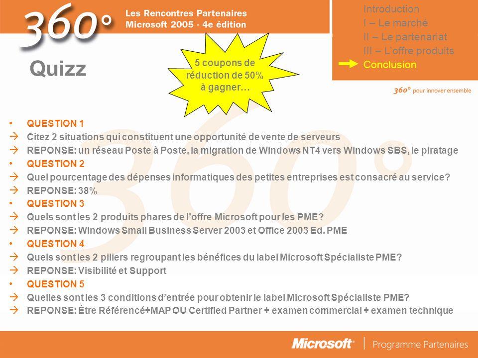 Quizz Introduction I – Le marché II – Le partenariat