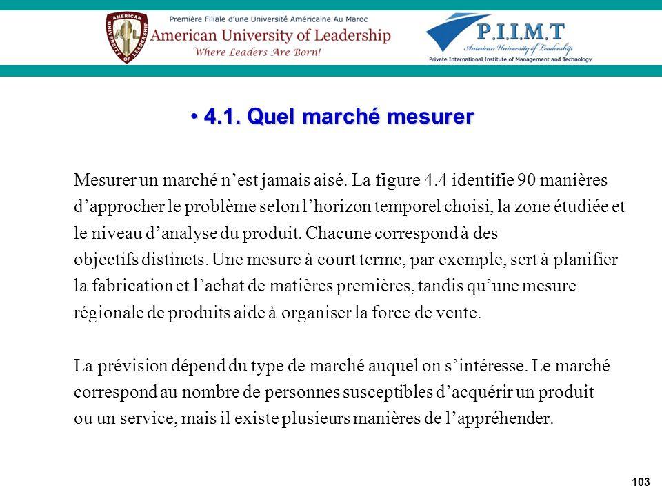 4.1. Quel marché mesurer Mesurer un marché n'est jamais aisé. La figure 4.4 identifie 90 manières.