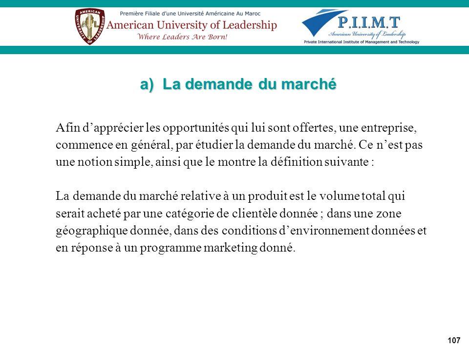 a) La demande du marché Afin d'apprécier les opportunités qui lui sont offertes, une entreprise,