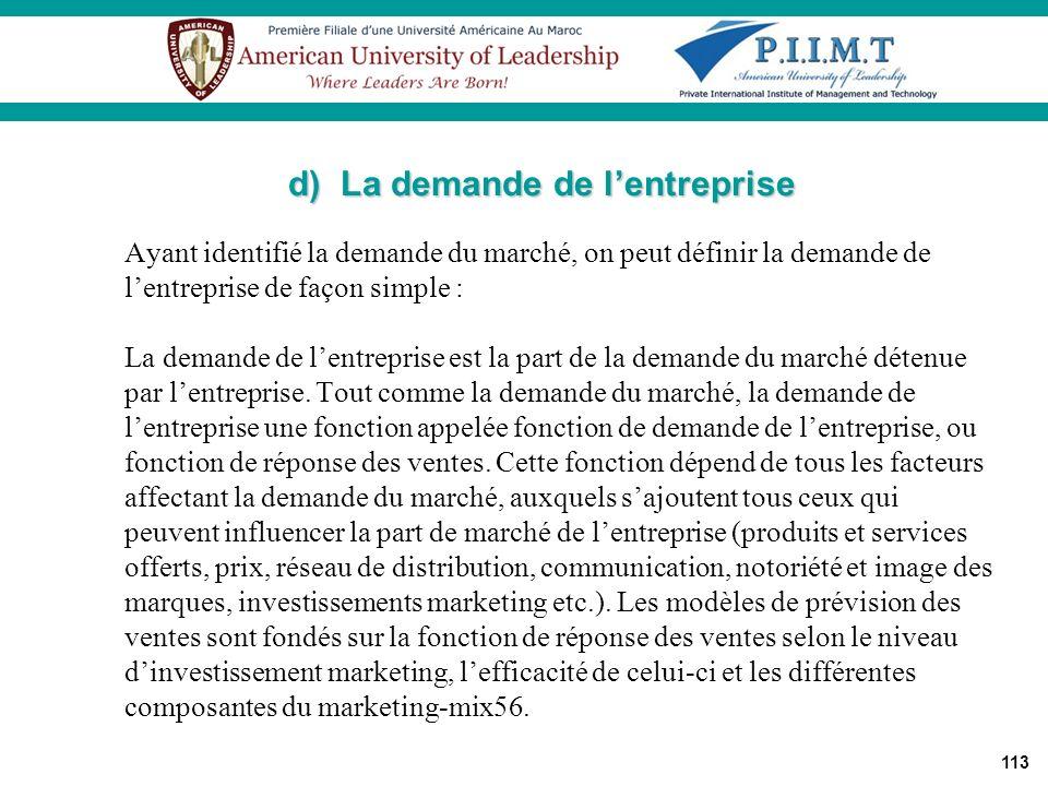 d) La demande de l'entreprise