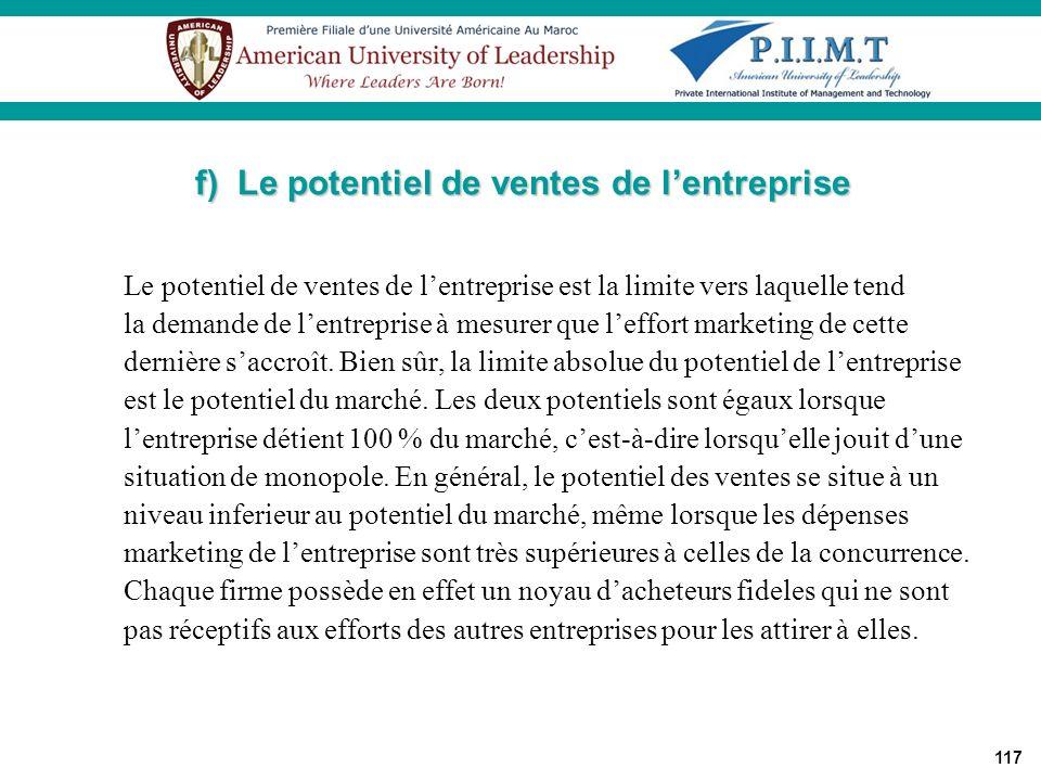 f) Le potentiel de ventes de l'entreprise