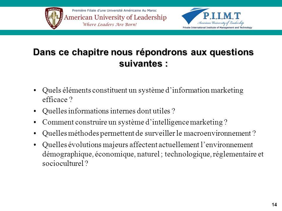 Dans ce chapitre nous répondrons aux questions suivantes :
