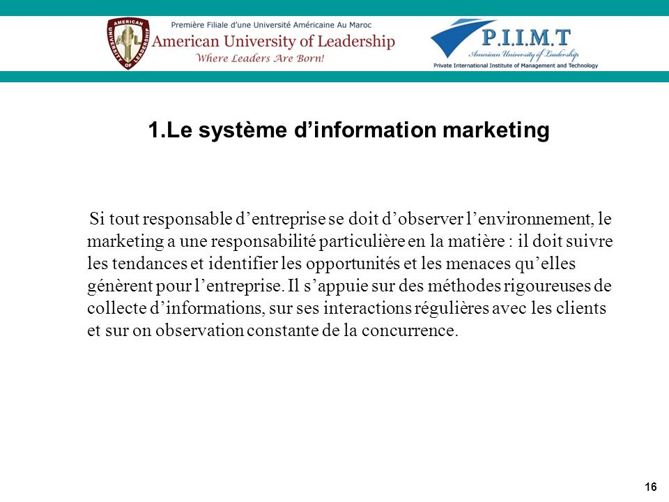 1.Le système d'information marketing