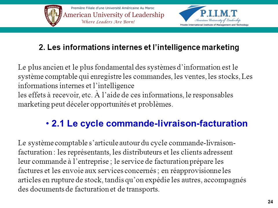 2. Les informations internes et l'intelligence marketing