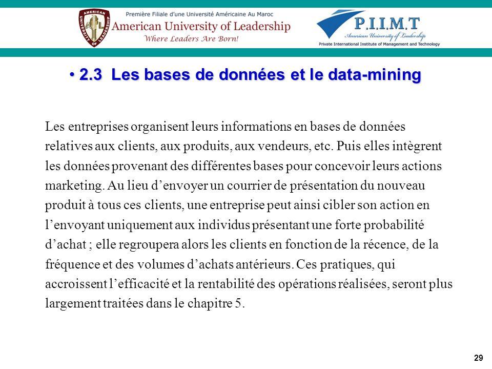 2.3 Les bases de données et le data-mining
