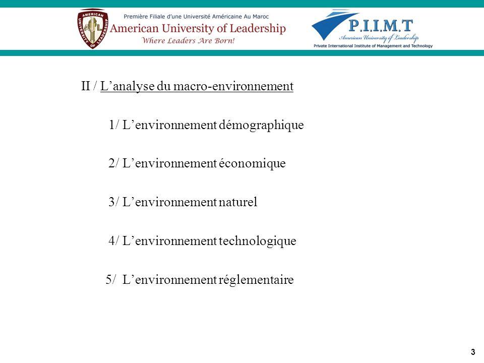 II / L'analyse du macro-environnement