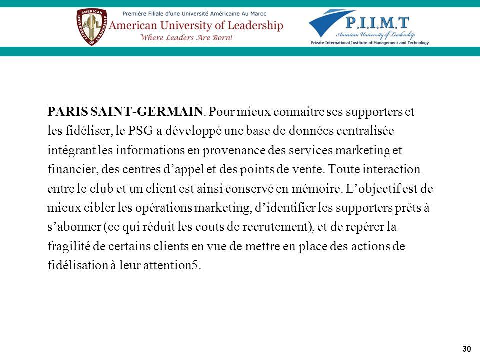 Critères d'analyse PARIS SAINT-GERMAIN. Pour mieux connaitre ses supporters et. les fidéliser, le PSG a développé une base de données centralisée.