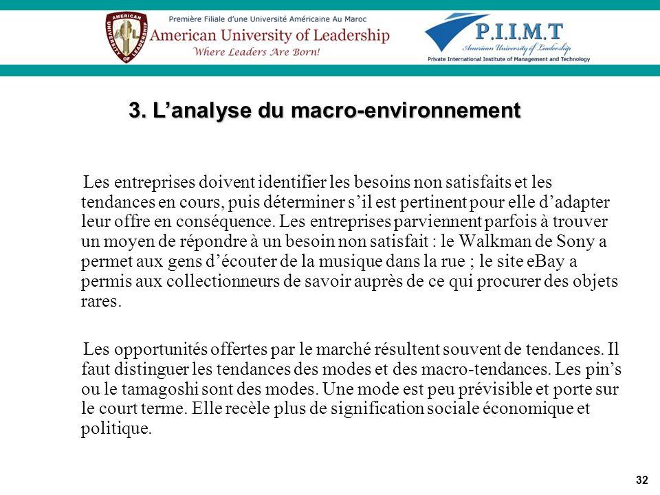 3. L'analyse du macro-environnement
