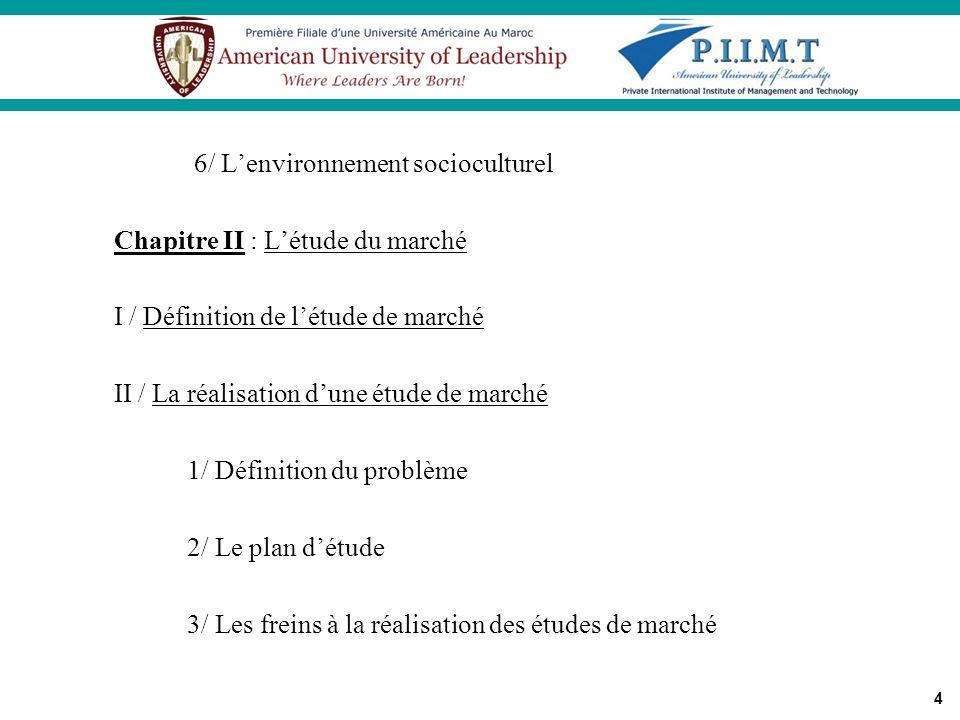 6/ L'environnement socioculturel