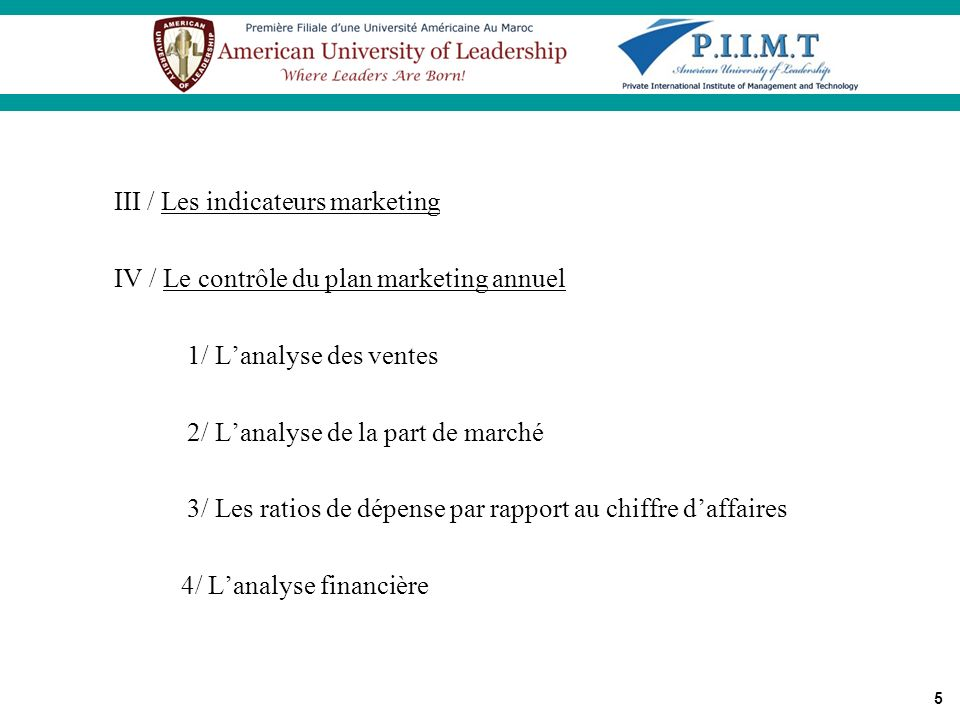 III / Les indicateurs marketing