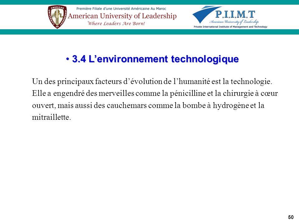 3.4 L'environnement technologique