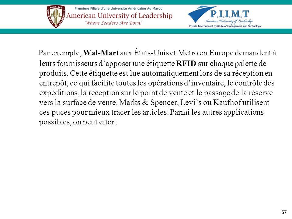 Par exemple, Wal-Mart aux États-Unis et Métro en Europe demandent à leurs fournisseurs d'apposer une étiquette RFID sur chaque palette de produits.