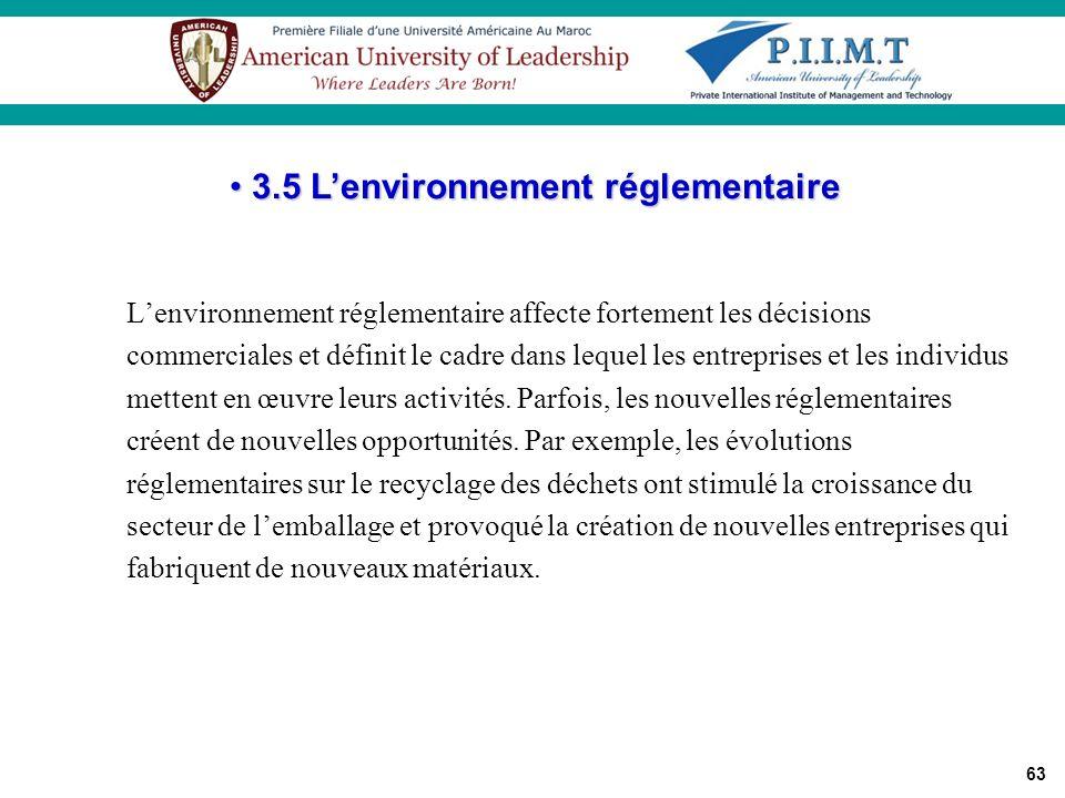 3.5 L'environnement réglementaire