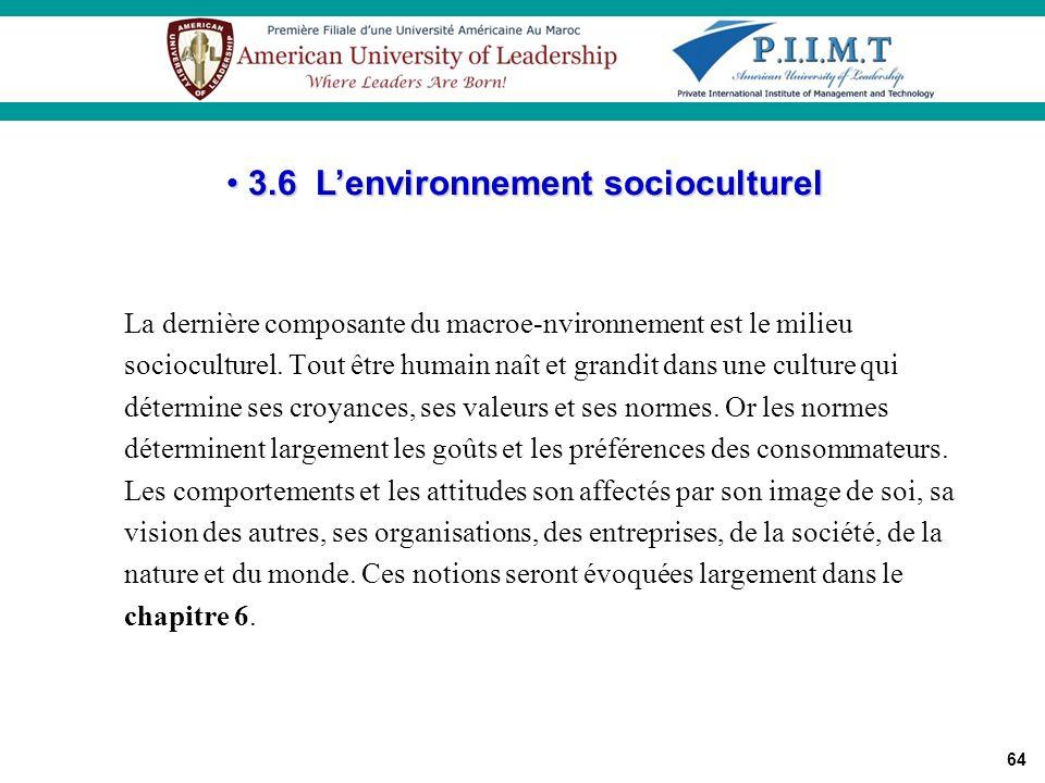 3.6 L'environnement socioculturel