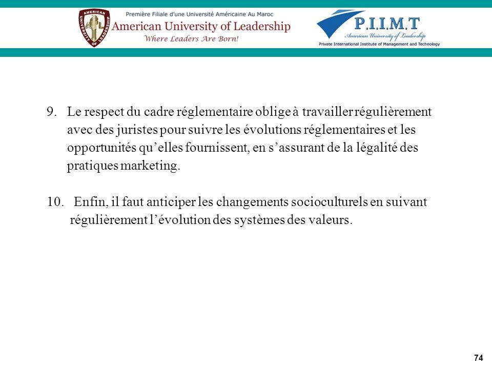 9. Le respect du cadre réglementaire oblige à travailler régulièrement