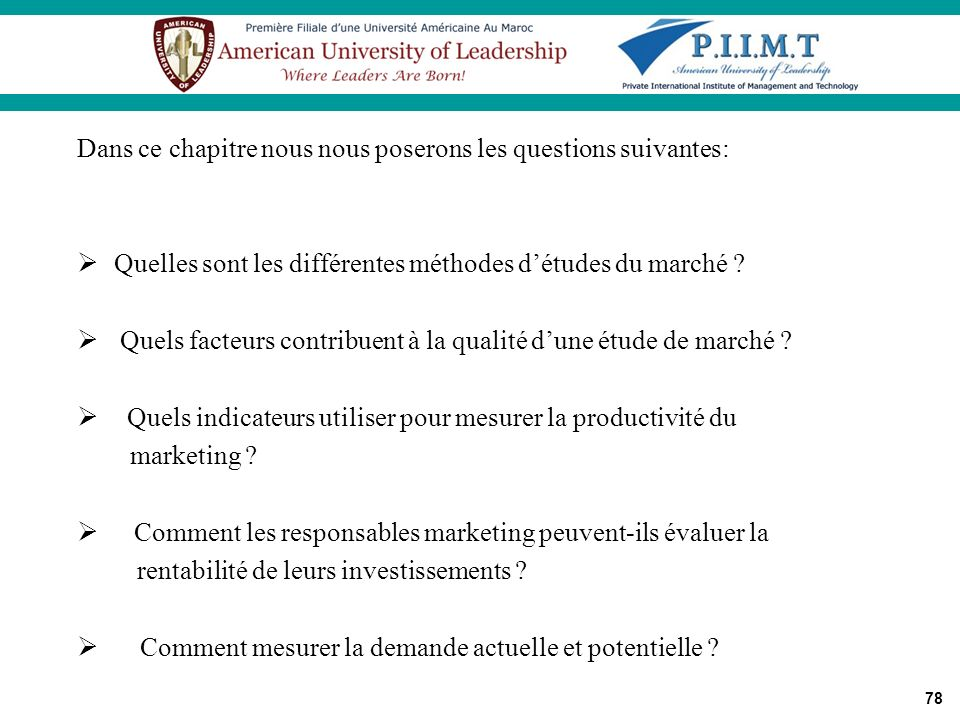 Dans ce chapitre nous nous poserons les questions suivantes: