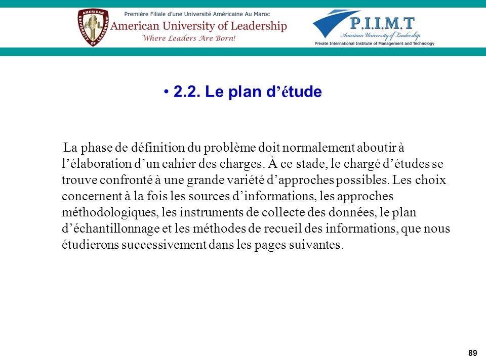 2.2. Le plan d'étude