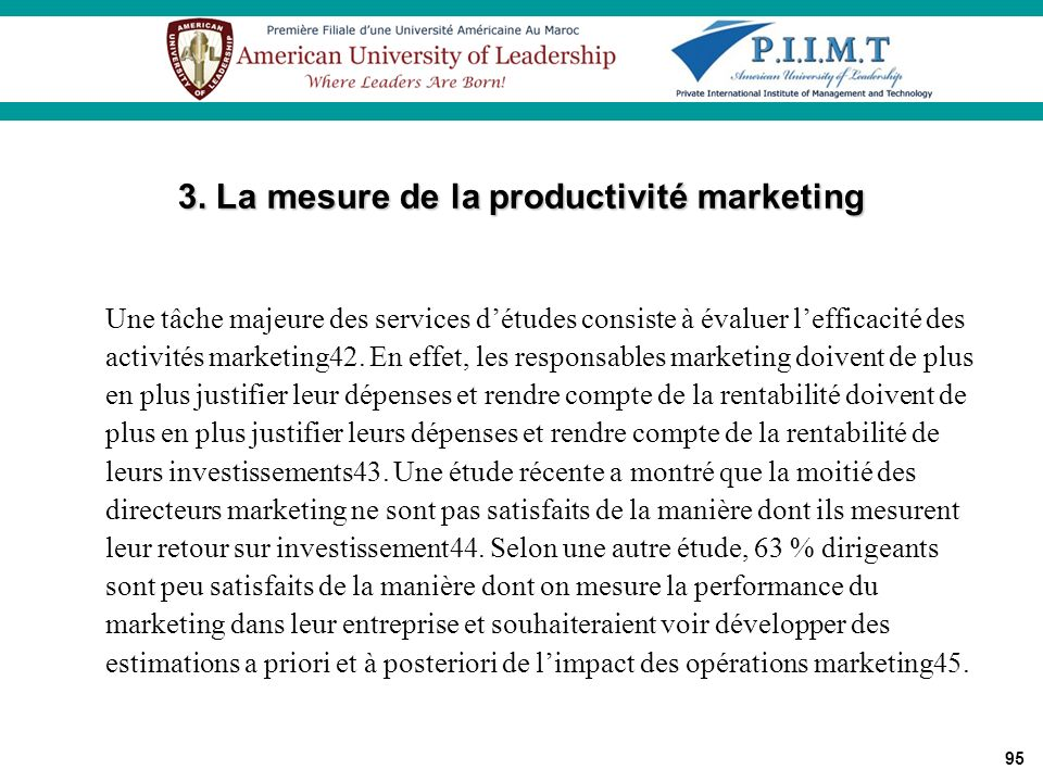 3. La mesure de la productivité marketing