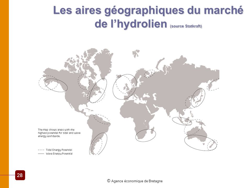 Les aires géographiques du marché de l'hydrolien (source Statkraft)