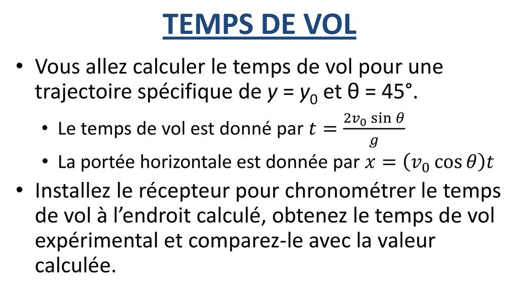 calculer le temps de vol
