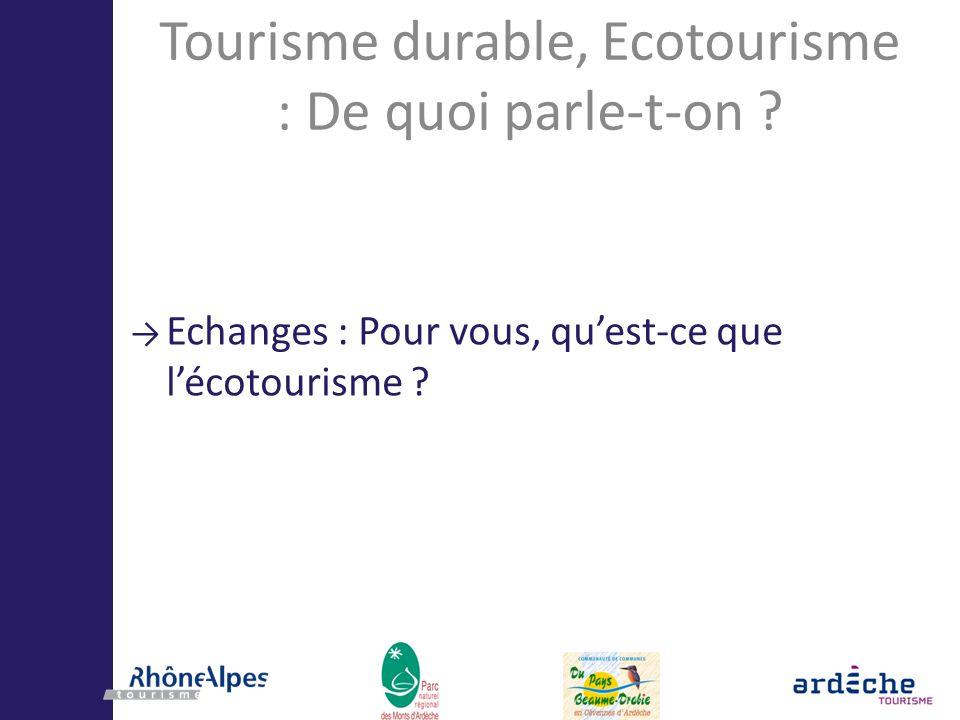 Tourisme durable, Ecotourisme : De quoi parle-t-on
