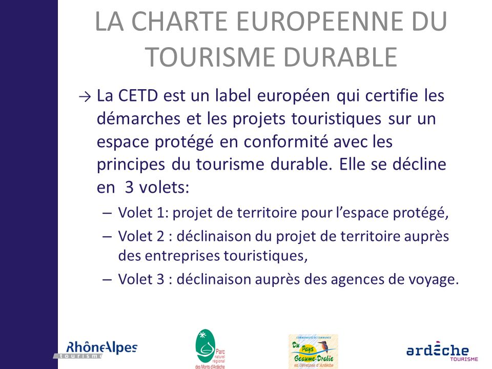 LA CHARTE EUROPEENNE DU TOURISME DURABLE