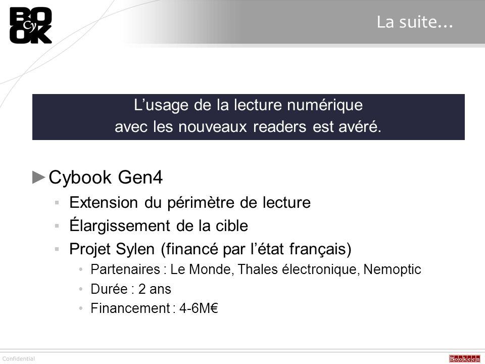 La suite… Cybook Gen4 L'usage de la lecture numérique