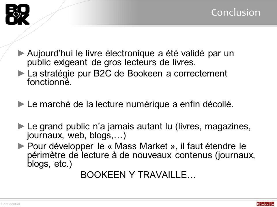 Conclusion Aujourd'hui le livre électronique a été validé par un public exigeant de gros lecteurs de livres.