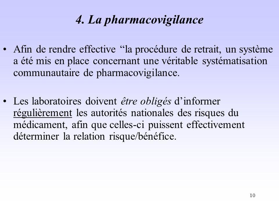 4. La pharmacovigilance