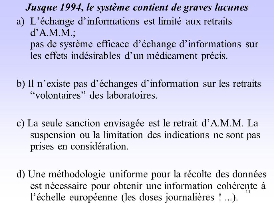 Jusque 1994, le système contient de graves lacunes
