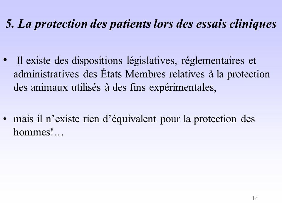 5. La protection des patients lors des essais cliniques