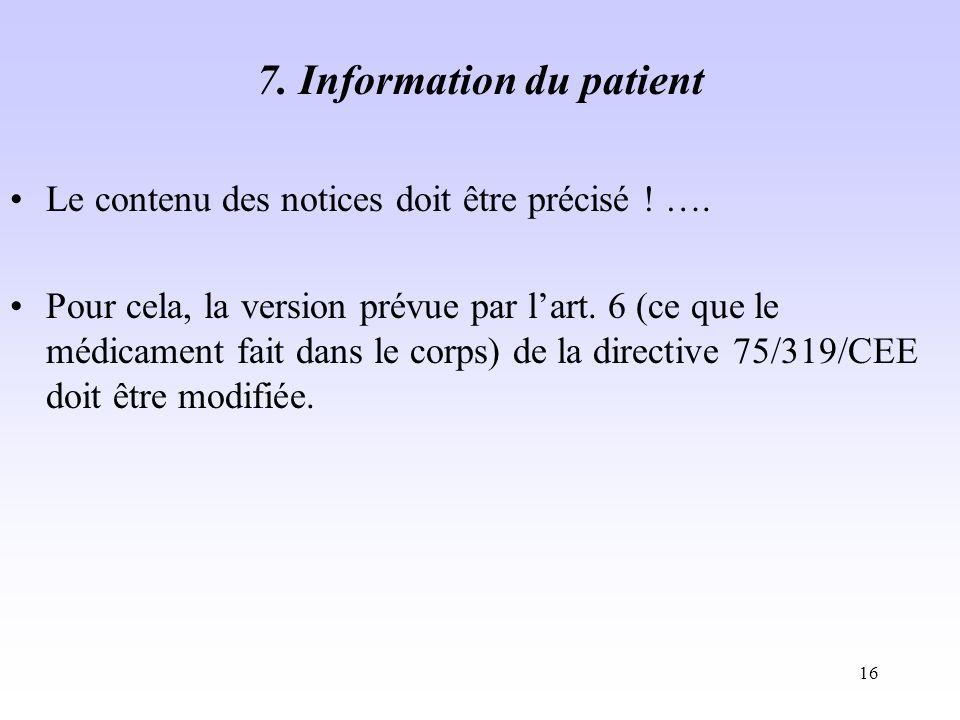 7. Information du patient