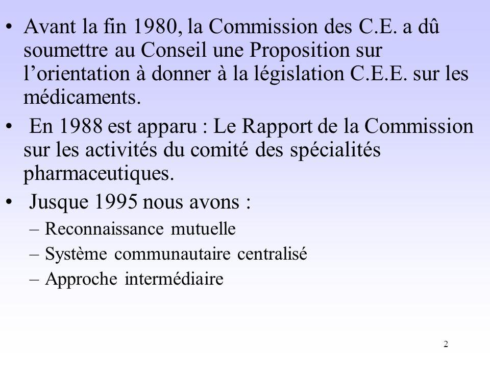Avant la fin 1980, la Commission des C. E