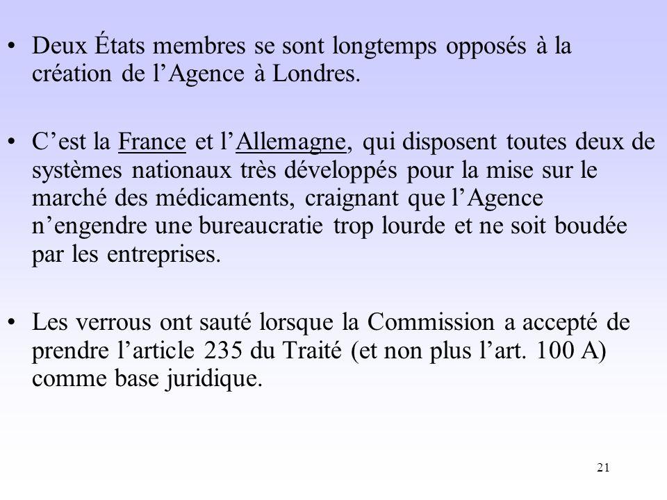 Deux États membres se sont longtemps opposés à la création de l'Agence à Londres.